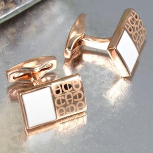 Luxury Man Rectangle Cufflink High quality Jewelry Golden-Silver-Rose gold-Gray Copper Stamping Cuff button Gentlemen Wear as Gift Cufflinks