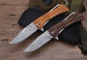 Mict damascus blade bamboo ball bearing CNC tactical self defense folding edc knife camping knife hunting knives xmas gift a1830