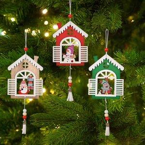 Christmas Tree Hanging Ornaments Wooden Handmade Crafts Santa Snowman Reindeer Pendant Drop Decorations OWB10560