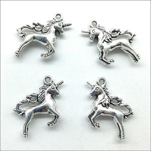Großhandel los 50 stücke Niedlichen Einhorn Pferd Tibet Silber Reize Anhänger Retro Stil Schmuck DIY Anhänger Für Keychain Armband Ohrringe 26x23mm DH0588