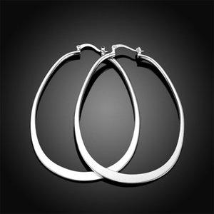 women's sterling silver plated Flat U earrings Hoop & Huggie GSSE001 fashion 925 silver plate earring gift 2196 Q2