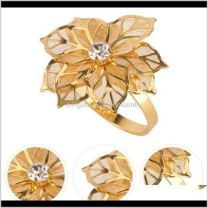 Rings 24Pcs Decorative Alloy Ring Flower Napkin Holder Wedding Party Dinner Table Decor (Golden) Oihhq 5Hiqu