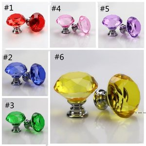 Diamond Crystal Glass Door Knobs Drawer Cabinet Furniture Handle Knob Screw Furniture Accessories 30mm Door Hardware HWE6028