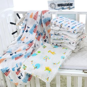 120*110cm Cotton Yard Infants Muslin Blanket Baby Newborn Swaddle Wrap Stroller Cover Cartoon Animal Floral Letters Printed Crawling Beach Towels 2 Layers LY224