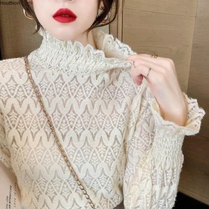 Women's Blouses & Shirts Summer High Collar Shirt Long Sleeve Tops Hollow Blouse Girl Lace Casual Fashion Lady Loose