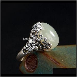 Solitaire Factory Direct Sale S990 Retro Iris Inlaid Natural Hetian White Jade Female Highgrade Sterling Sier Ring 0Wql5 Dthku