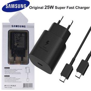 Samsung Galaxy S21 ПРИМЕЧАНИЕ 20 10 Ultra S20 A70S 25W EU Plug PD Быстрое заряда Портативное зарядное устройство USB C Быстрая зарядка адаптера Cargador