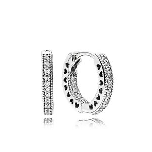 Pavé Heart Hoop Earrings Charm Original Box for Pandora 925 Sterling Silver small ear ring Women Mens EARRING