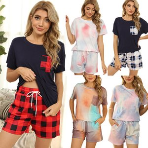Women's Tracksuits 2021 spring and summer tie dyed pajamas Short Sleeve Plaid leopard pattern two piece sets Printed Shorts Pajama