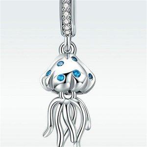 قنديل البحر الزركون قلادة قلادة صالح باندورا سوار سحر حقيقي 925 فضة الخرز الفاخرة المجوهرات الأصلية صنع 394 Q2