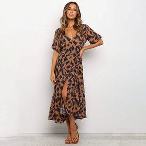 Casual Dresses Sexy Chiffon Women Summer Fashion V-Neck Short Sleeve Black Leopard Print Split Slim Long TBR3