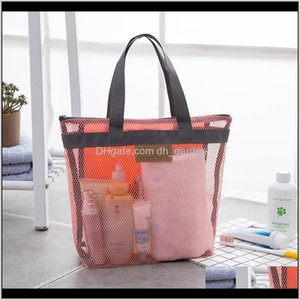 Storage Housekeeping Organization Home Garden Drop Delivery 2021 Outdoor Travel Beach Makeup Tote Bag Portable Mesh Transparent Toiletry Hand
