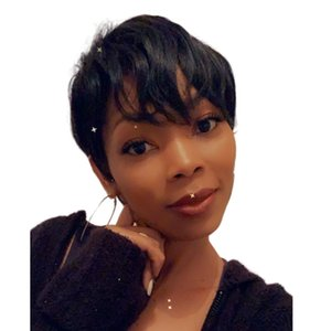 Short Human Hair Wigs Pixie Cut Straight Remy Brazilian for Black Women Machine Made Highlight Natural Color none lace front wig
