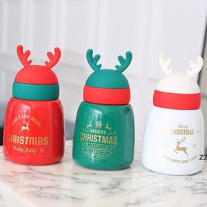 Amazon Christmas Elk Antler Gift Water Bottle Promotional Christmas Xmas Double Wall Vacuum Water Bottle HWD10286 by sea