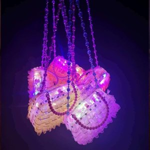 Kids Glowing bag LED Light Up Handbag Toys Lace Clear Plastic Crossbag With Beaded Sash Holiday Birthday Party Gift
