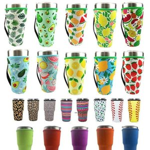 NEWDrinkware Handle 41 Designs 30oz Reusable Ice Coffee Cup Sleeve Cover Neoprene Insulated Sleeves Holder Case Bags Pouch Tumbler EWF7907
