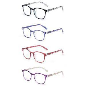 JM 4pcs set +0.5 to +4 Spring Hinge Reading Glasses Retro Presbyopic Glasses Women Men Magnifier Diopter