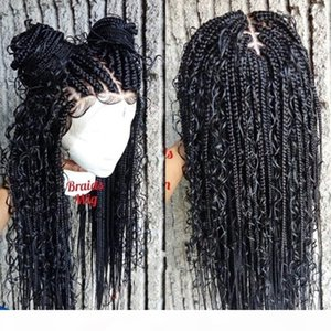 Fashion 13x4 Braided curly Wigs Synthetic Lace Front wig Cornrow Box Braid Wigs for Black Women Frontal Twist Braided Wig for african women