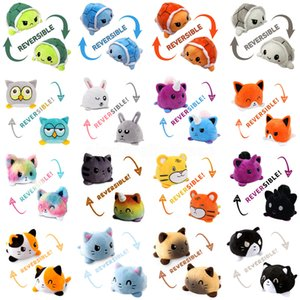 US stock Cute Turtle Octopus Plush Reversible Cat Gato Doll Kids Christmas Gift Double-sided Flip Plush Toy Chirdren Birthday Gift CY28