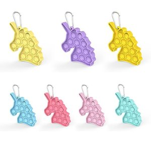 DHL Free Unicorn keychain decompression toy , it is Fidget simple dimple mixed color 7 design key ring anti-stress foam board