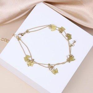 Charm Bracelets Fashion Jewelry Butterfly Round Bead Bracelet Multi-layer Adjustable Alloy Women's Punk Metal Accessories
