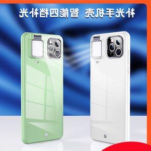 Aplicar à Apple IP Network Vermelho Beleza Preenchimento Luz Novo Telefone Celular Criativo Multi-Função Bracket Self Timer Shell Protetora