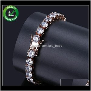 Mens Diamond Tennis Bracelet Iced Out Chains Micro Pave Cz Hip Hop Jewelry Luxury Designer Bangle Finish 1 Row Gold Bracelets Link Cgl Alnby