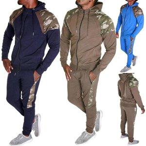 Men Tracksuit Set Camo Patchwork Sweat Suit Set Mens Sports Suit Hoodie Sweatshirt Sweatpants 2 Pieces Jogger Outfit