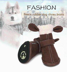Dog Apparel Lovoyager 4Pcs Set Winter Warm Rain Boots Protective Pet Sports Anti-Slip Shoes Footwear Fur Pupy