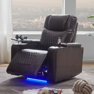 Power Motion Recliner with USB Charging Port and Hidden Arm Storage 2 Convenient Cup Holders design and 360° Swivel Tray Table
