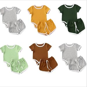 Kids Designer Clothes Boys Pit Striped Clothing Sets Baby Short Sleeve Top Shorts Suits Solid Summer Casual T-Shirts Hot Pants Outfits B7595