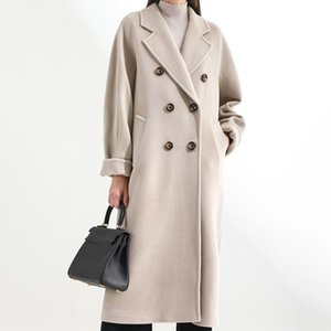 Autumn Winter Mid-Length Woolen Coat Solid Color Double Breasted Cotton Coats Loose Casual Overcoat With Belt Women's Trench