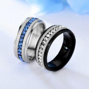 Rail Diamond Bague Doigt Doigt Cristal Bleu Bleu Simple Simple Inox Acier Engagement Mer Anneaux Femmes Hommes Mode Bijoux Will et Sandy