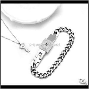 & Sets Drop Delivery 2021 A Couple Lovers Love Heart Lock Bracelet Stainless Steel Bracelets Bangles Key Pendant Necklace Jewelry Drop Qh7