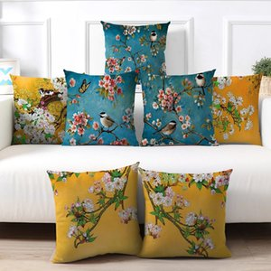 Plum Blossom Pillow Case Cushion Covers Flamingo Birds Cherry PillowCover for Home Chair Sofa Decoration Yellow Pillowcases