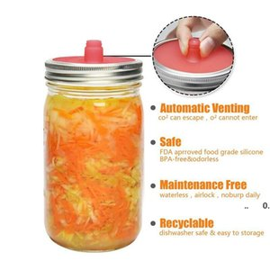 Silicone Waterless Fermenting Airlock Lids Covers Stainless Steel Band for Wide Mouth Mason Jar Sealed Lid Kitchen Supplies GWE10510