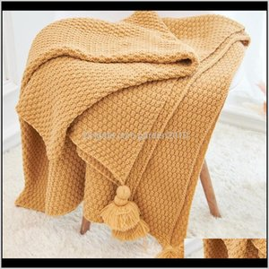 Blankets Home Travel Knitted Stool Bench Blanket With Tassel Beach Swimming Bathing Wraps Cover1 Qso08 Mv51S