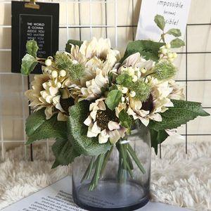 Artificial Sunflower Flower Bouquet Silk Real Touch Fake Flowers Wedding Decoration Floral Home Garden Party Supplies Decorative & Wreaths