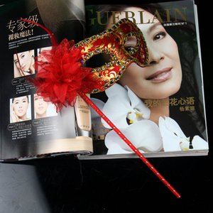 2021 HandMade Party Mask with stick Wedding Venetian Half face flower mask Halloween Masquerade princess Dance party Mask 6 color