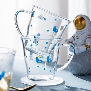 Wine Glasses 350ml Women Lovely Drink Cup Original Glass Handle Household Ins Wind Milk Tea Juice