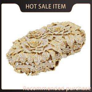 Hochzeitsfrauen Gold Blume Hohlkasten Kupplungen Handtasche BA Metall aus Kleine Rose Geldbörse Blende Dazzing Crystal Clutch Abend Hohor