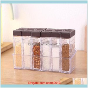 Bulk Food Kitchen Storage Housekeeping Organization Home & Garden6-Case Seasoning Boxes Set With Tray Double-Outlet Lid Connt Containers Tra