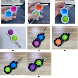 Push Bubble Keychain Kids Party Novel Fidget Keychains Simple Dimple Toy Pop Toys Key Holder Rings Bag Pendants Decompression Gifts DHL