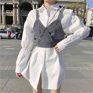 Syiwidii 2 Piece Sets Blouse Dress for Women White Mini A-Line Vintage Puff Sleeve Shirts Dresses with Denim Tank Spring 210409