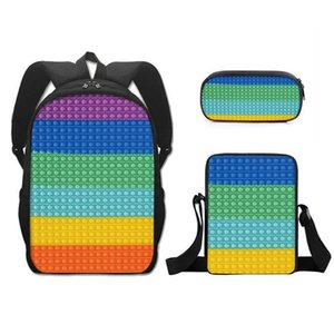 2021 Rainbow Printed Back To School Students Schoolbag Tie Dye Fashion Kids Boys Grils Backpack Shoulder Bags Polyester Small Satchel Three Piece Suit G94F7D0