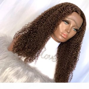 Afro Kinky Curly Human Hair 4x4 Silk Top Lace Wigs Chocolate Brown Peruvian Remy Hair Full Lace Wigs For Black Women