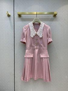 Brand Same Style Dress 2021 Pink Lapel Neck Short Sleeve Fashion Milan Runway Designer Dresses Women's 0530-12