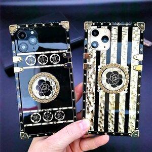 الأزياء الفاخرة بريق الذهب مربع القضية آيفون 12 11 × xs ماكس xr 7 8P أسود روز زهرة غطاء لسامسونج note20ultra S21 S20 Ultra S10