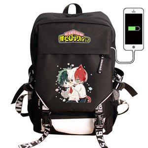 My Hero Academia Laptop USB Charging Backpack Boku no Hero Academia COS School Bag Pack Bag Backpack Waterproof Travel Rucksack 201118