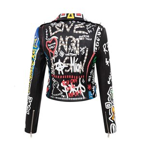2021 new slim graffiti Pu women's printed contrast jacket motorcycle leather suit collar trendy coat